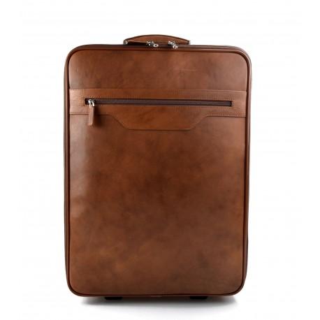 Trolley voyage en cuir sac voyage de bagages a main en cuir brun