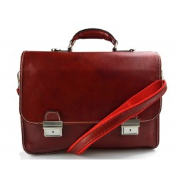 Men leather bag shoulder bag genuine leather briefcase red