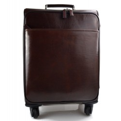 Leather trolley travel bag weekender overnight dark brown