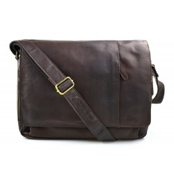 Genuine italian leather shoulderbag notebook messenger bag ipad laptop ladies men dark brown
