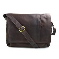 Sac à bandoulière en cuir notebook sac homme femme sac d'épaule messenger marron foncè