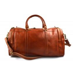 Bolso de viaje deportiva mujer bolsa de hombre con asas y correa de piel miel