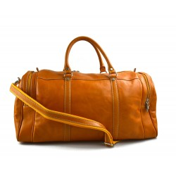 Men leather duffle bag yellow shoulder bag travel bag luggage weekender carryon cabin bag