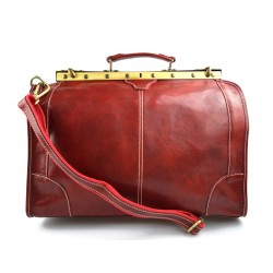 Leather doctor bag men travel red women cabin luggage bag leather shoulder bag