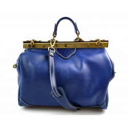 Ladies leather handbag doctor bag handheld shoulder bag blue made in Italy genuine leather bag