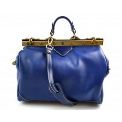 Ladies leather handbag doctor bag handheld shoulder bag blue made in Italy genuine leather bag