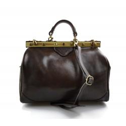 Ladies leather handbag doctor bag handheld shoulder bag dark brown made in Italy genuine leather bag