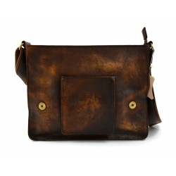 Mens leather bag shoulderbag genuine leather messenger dark brown business document bag