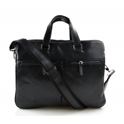 Leather satchel black messenger men ladies bag handbag