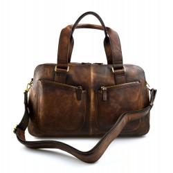 Bolsa de viaje de piel vintage bolsa piel lavada marron oscuro