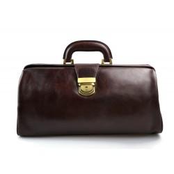 Leather doctor bag messenger handbag ladies men leatherbag briefcase vintage dark brown
