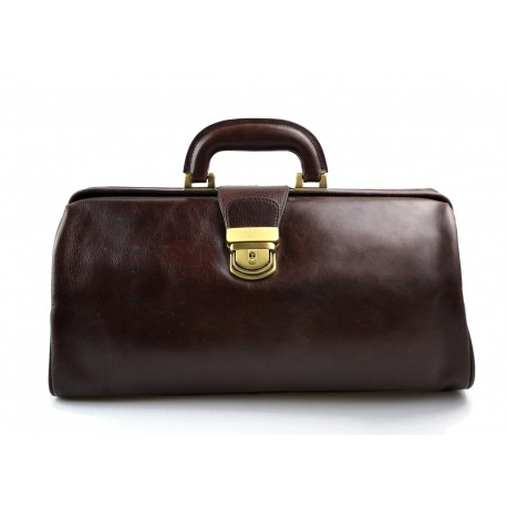 Leather doctor bag messenger handbag ladies men leatherbag briefcase vintage dark brown