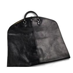 Porta abiti in pelle borsa da viaggio porta indumenti nero