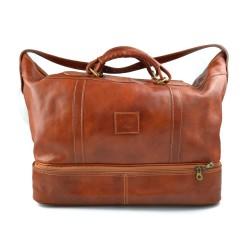 Leather duffle bag genuine leather shoulder bag honey