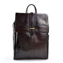 Leather brown backpack genuine leather travel bag dark brown