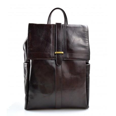 Leather brown backpack genuine leather travel bag dark brown