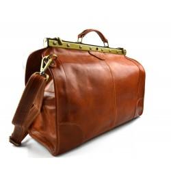 Leather trolley travel bag 4 wheels weekender brown