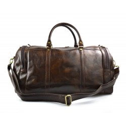 Mens leather duffle bag dark brown shoulder bag travel bag luggage weekender carryon cabin bag
