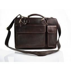 Leather briefcase business bag conference bag satchel brown