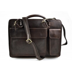 Leather shoulder bag briefcase carry on messenger bag leather ladies handbag mens office bag dark brown
