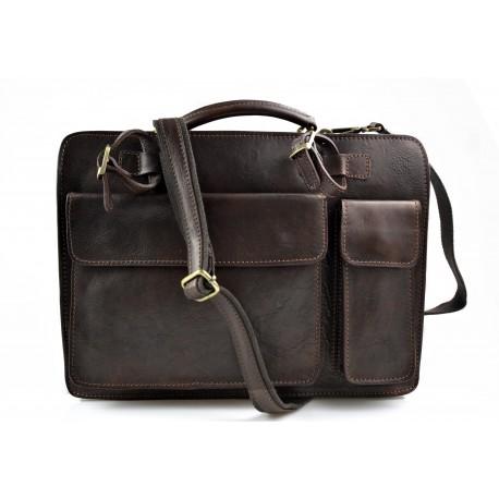 Carpeta de cuero bolso cartera de cuero bolso de hombre bolso de mujer bolso de piel marron oscuro