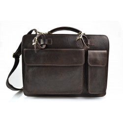 Mens leather bag shoulderbag genuine leather messenger black business document bag