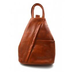 Bolso de cuero genuino mochila de hombre de piel mochila de mujer miel