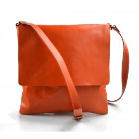 Borsa a tracolla in pelle borsello cuoio da uomo borsa pelle arancio