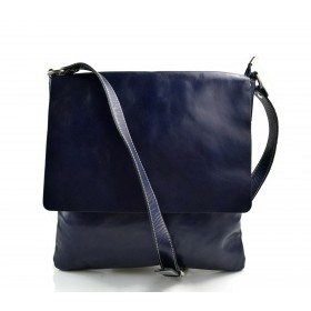 Borsa a tracolla in pelle borsello cuoio da uomo borsa pelle blu