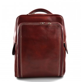 Backpack genuine leather travel bag weekender sports bag red