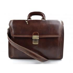 Leather briefcase office handbag mens woman shoulderbag brown