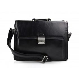 Leather briefcase office handbag mens woman shoulderbag black
