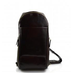 Sac à dos bandoulière en cuir sac homme sac à bandoulière brun foncè
