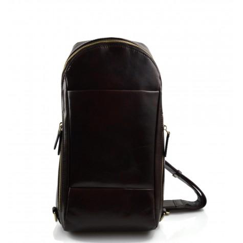 Mens waist leather women shoulder bag ladies hobo bag dark brown