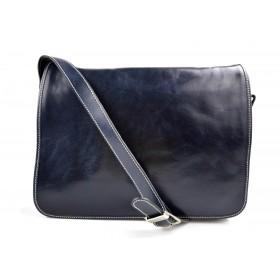 Bolso messenger de piel bandolera de cuero bolso de hombre piel bolso de espalda azul