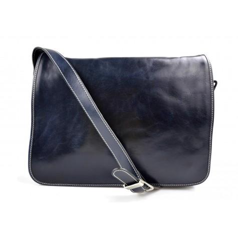 Mens leather bag shoulder bag genuine leather messenger blue business document bag
