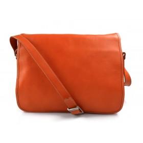Mens leather bag shoulder bag genuine leather messenger orange business document bag