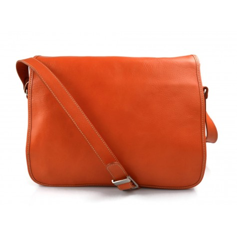 Mens leather bag shoulder bag genuine leather messenger orange business document bag