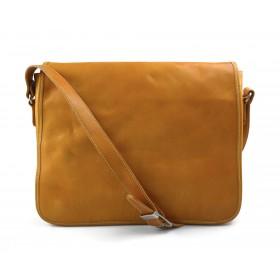 Mens leather bag shoulder bag genuine leather messenger yellow business document bag