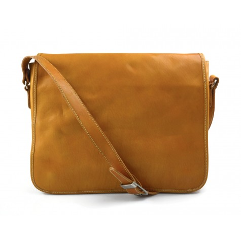 Mens leather bag shoulder bag genuine leather messenger yellow business document bag