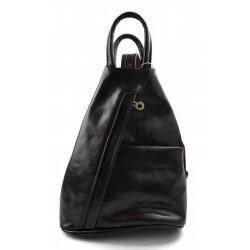 Bolso de cuero genuino mochila de hombre de piel mochila de mujer marròn oscuro
