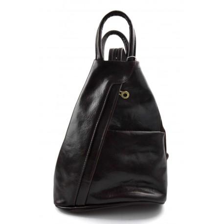 Leather backpack ladies mens leather travel bag weekender sports bag dark brown