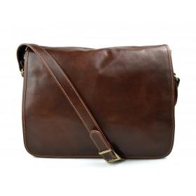Bolso messenger de piel bandolera de cuero bolso de hombre piel bolso de espalda marron