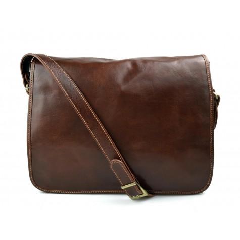 Mens leather bag shoulderbag genuine leather messenger brown business document bag