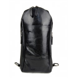 Mens waist leather women shoulder bag ladies hobo bag black