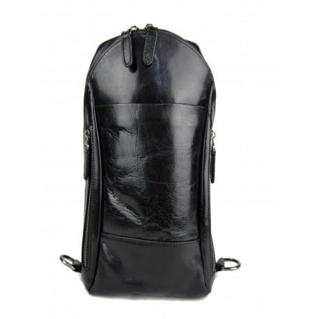 Sac à dos bandoulière en cuir sac homme sac à bandoulière noir