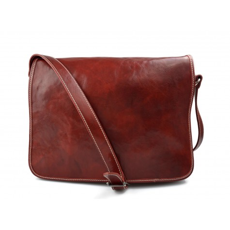 Mens leather bag shoulder bag genuine leather messenger red business document bag