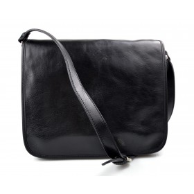 Leather messenger bag mens leather bag black shoulder bag