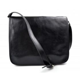Messenger bandoulière en cuir sac en cuir sac homme messenger sac d'épaule traverser noir