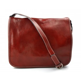 Leather messenger bag men's leather bag red shoulder bag